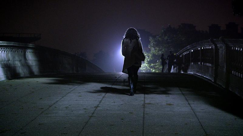 A woman on a college campus in THE HUNTING GROUND