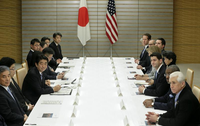 US House of Representatives Ways and Means Committee Chairman Paul Ryan talks with Japanese Prime Minister Shinzo Abe on Trans-Pacific Partnership (TPP) and other issues, February 19, 2015.