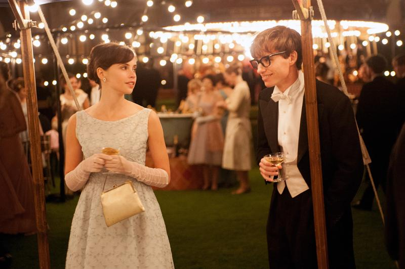Felicity Jones stars as Jane Wilde and Eddie Redmayne stars as Stephen Hawking in <em>The Theory of Everything</em>