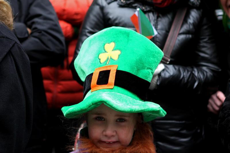 Teagan McAdams, 7,  from Derry, Ireland with her family at the annual St. Patrick's Day Parade.