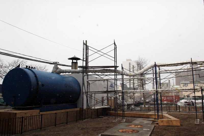 A mobile boiler at the Carey Gardens houses in Coney Island, still in use 16 months after Sandy destroyed the old boiler.