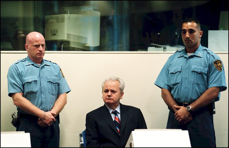 Slobodan Milosevic refuses the presence of any lawyer during his initial hearing before the ICTY in The Hague, Netherlands on July 03, 2001.