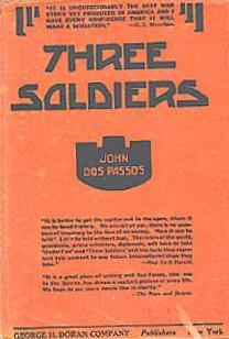 Cover of the first edition of Three Soldiers by John Dos Passos