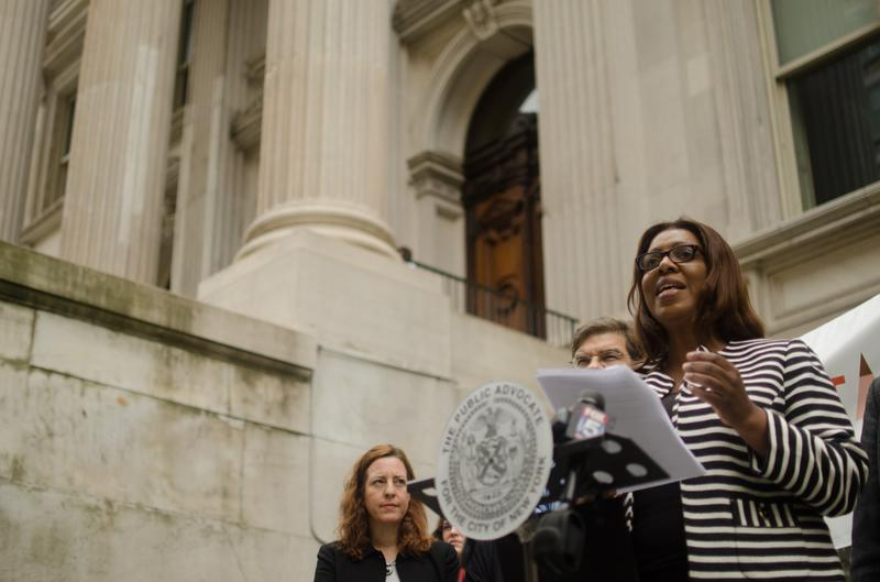 Public Advocate Letitia James calls on the city's Department of Education to ban field testing.