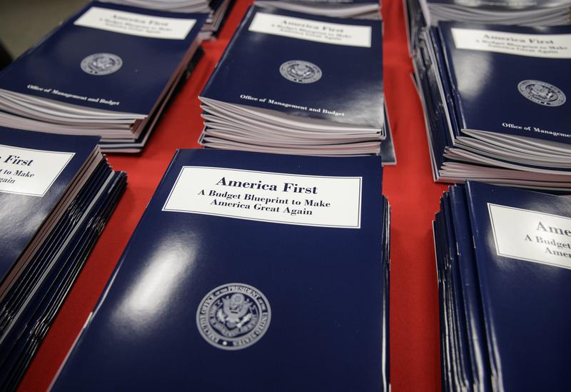 Copies of President Donald Trump's first budget are displayed at the Government Printing Office in Washington Thursday.