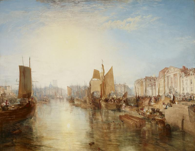 J.M.W. Turner, Harbor of Dieppe: Changement de Domicile, exhibited 1825, but subsequently dated 1826, oil on canvas, 68 3/8 x 88 3/4 inches.