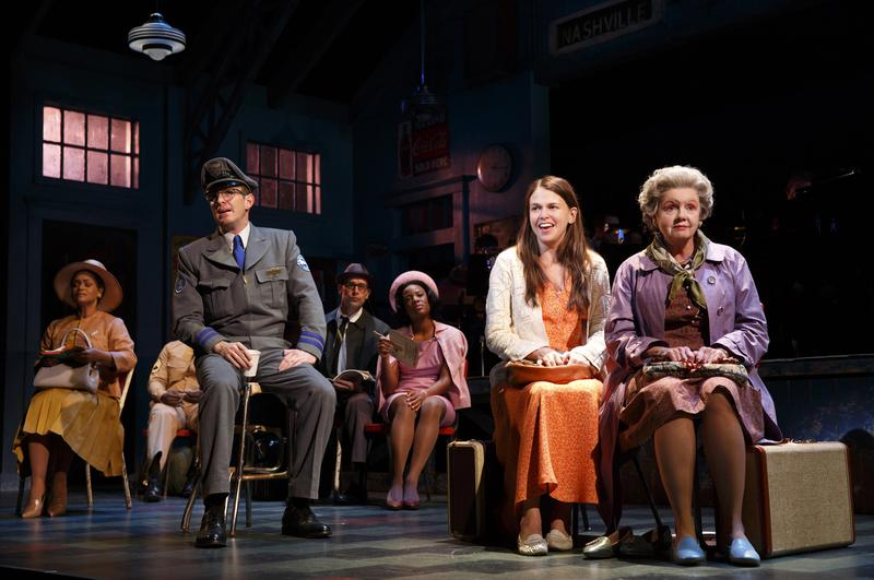 Sutton Foster (orange dress) stars in the cast of 'Violet' at the Roundabout Theatre Company.