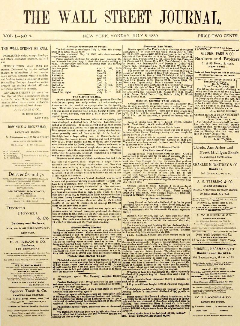 The Wall Street Journal's First Front Page, published July 8, 1889