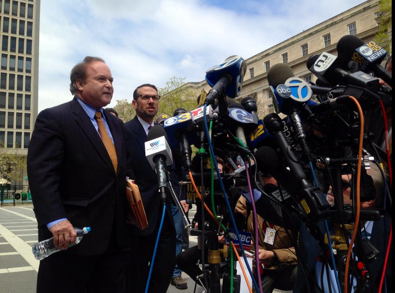 David Wildstein and attorney Alan Zegas face reporters outside of the federal courthouse in Newark, NJ