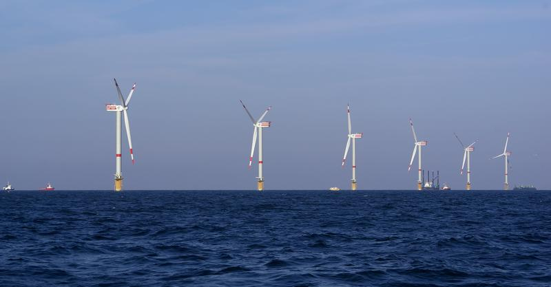 Final phase in the construction of windmills on the Belgian part of the North Sea.