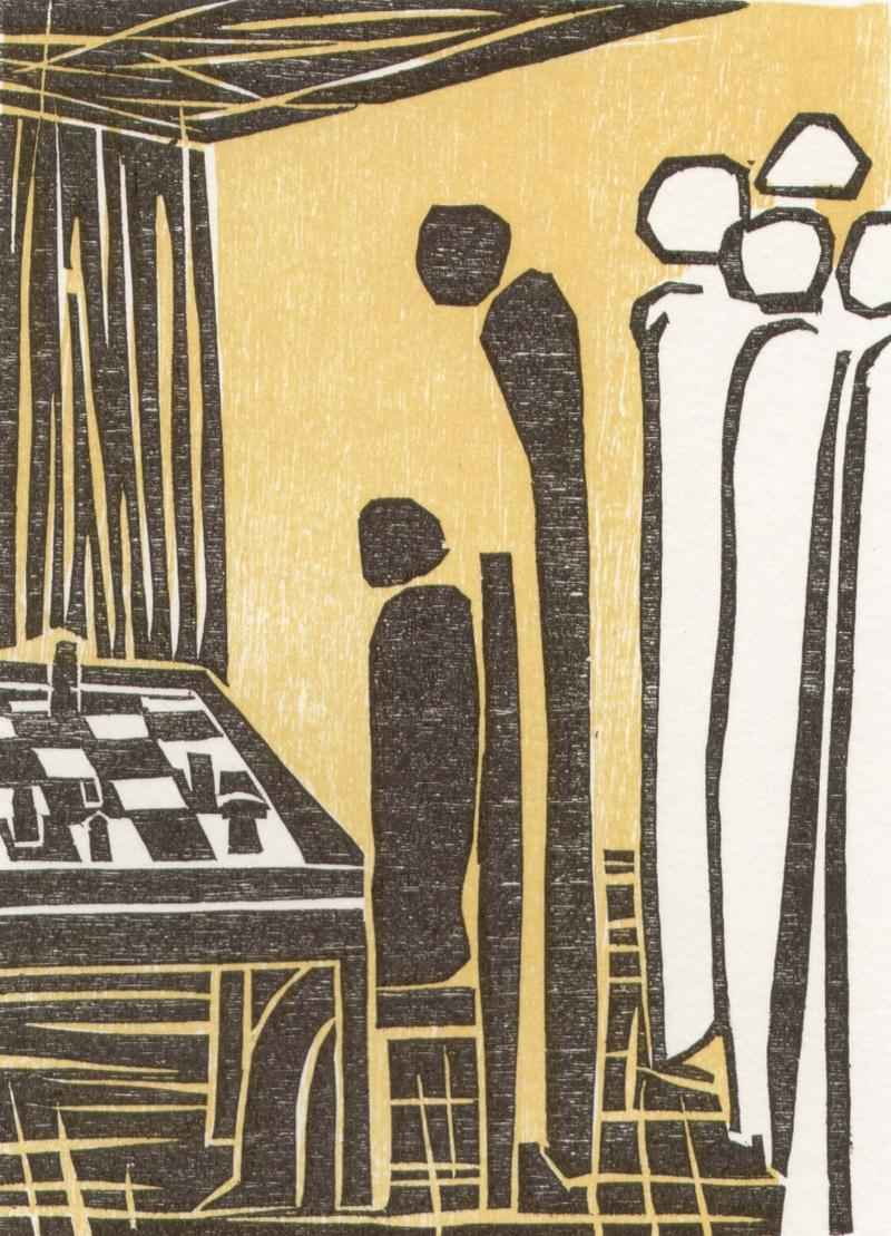 "One of six woodcuts to the chess story ""The Royal Game"" by Stefan Zweig. Artist: Elke Rehder, Germany."
