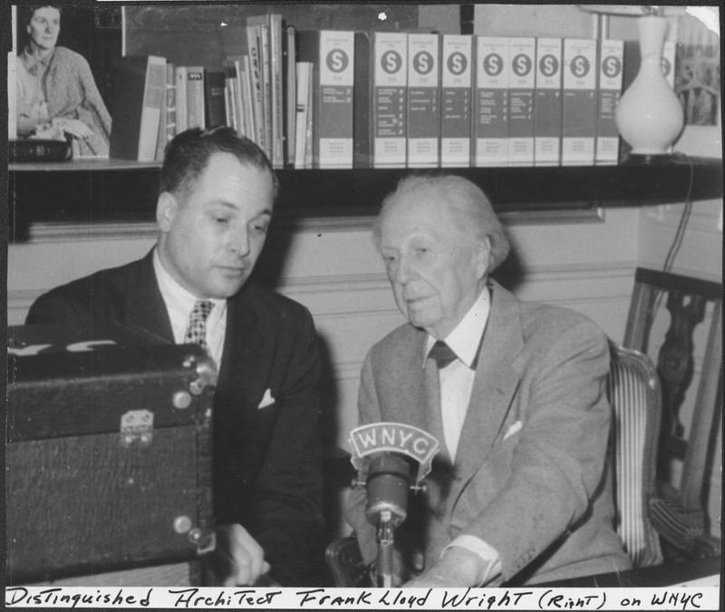 Jeffery Aronin interviewing Frank Lloyd Wright for WNYC.