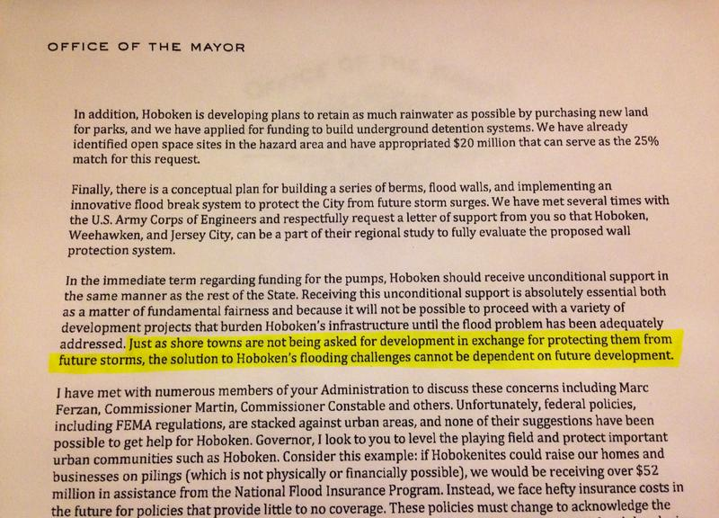 A portion of the April 23, 2013 letter from Hoboken Mayor Dawn Zimmer to N.J. Gov. Chris Christie.
