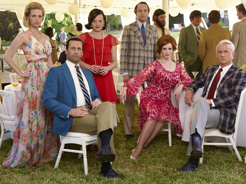 January Jones as Betty Francis, Jon Hamm as Don Draper, Elisabeth Moss as Peggy Olson, Vincent Kartheiser as Pete Campbell, Christina Hendricks as Joan Holloway, and John Slattery as Roger Sterling