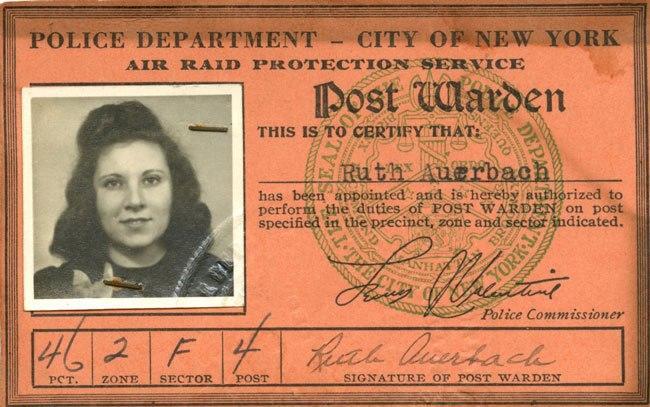 World War II air-raid warden I.D. card.