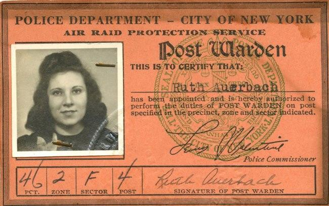 World War II era Air raid warden ID card.