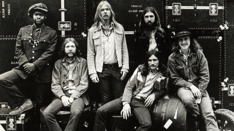 "The original Allman Brothers Band, as pictured on the cover of 1971's ""Live At The Fillmore East"""