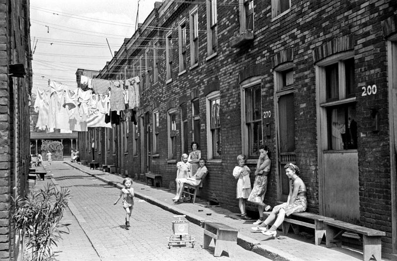 Arthur Rothstein photograph of housing conditions in Ambridge, Pennsylvania, during the American great Depression, 1938.