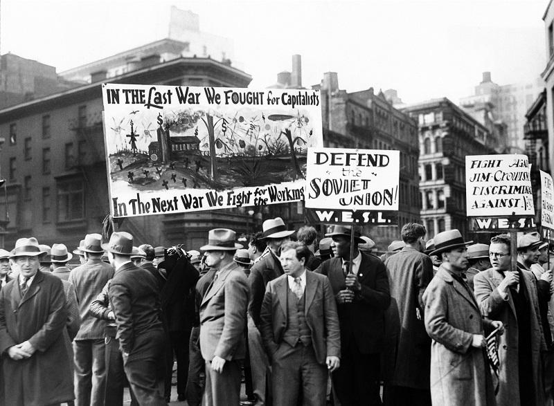Communists with signs in Union Square on May Day, 1931.