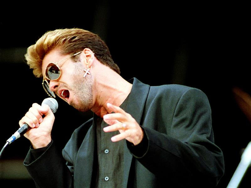 British singer George Michael performs at Rockfest in June 1988 at Wembley Stadium in London. An estimated 70,000 fans packed the venue for the 10-hour concert in honor of the jailed black South Afric
