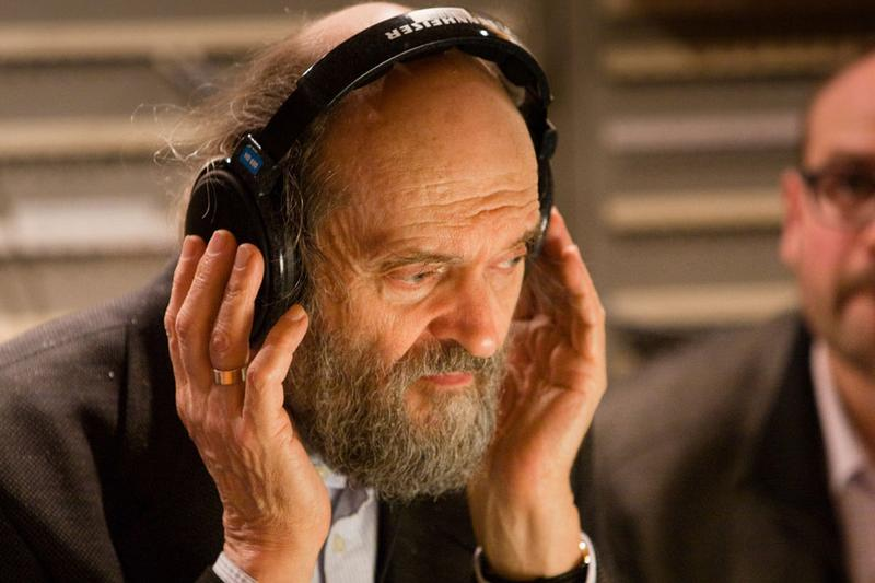Composer Arvo Pärt in a recording session