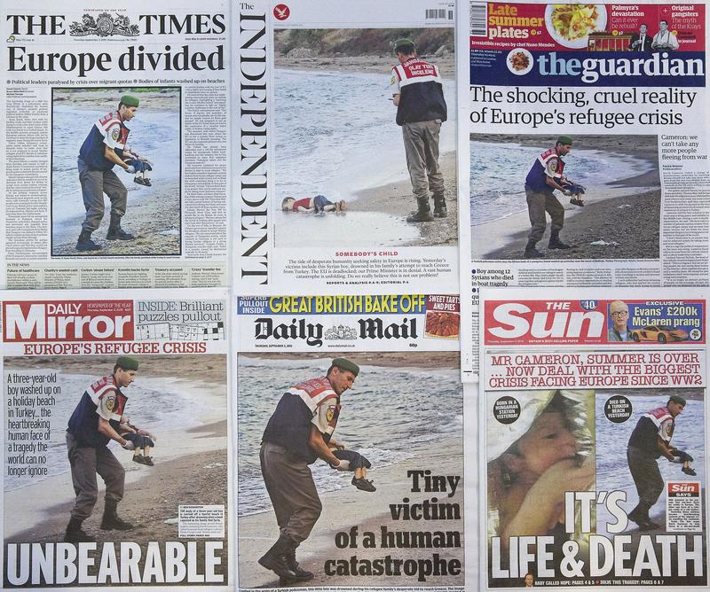 The front pages of some of Britain's daily newspapers showing an image of the body of Syrian three-year-old boy Aylan Kurdi.