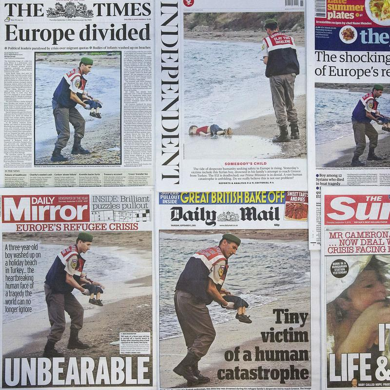 The front pages of some of Britain's daily newspapers showing an image of the body of Syrian three-year-old boy Aylan are pictured in London, on September 3, 2015.