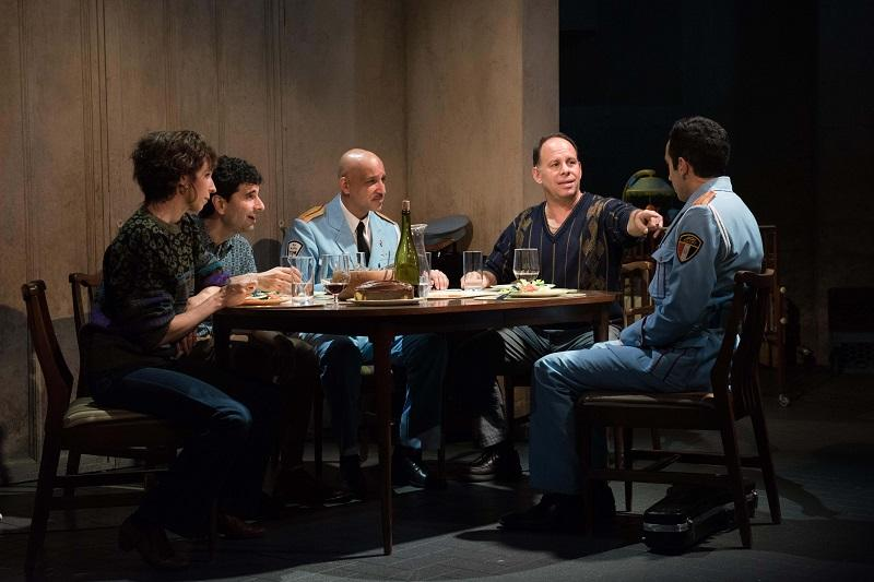 "(l-r) Kristen Sieh, John Cariani, Alok Tewari, Andrew Polk, George Abud in Atlantic Theater Company's World Premiere musical ""The Band's Visit,"" directed by David Cromer."