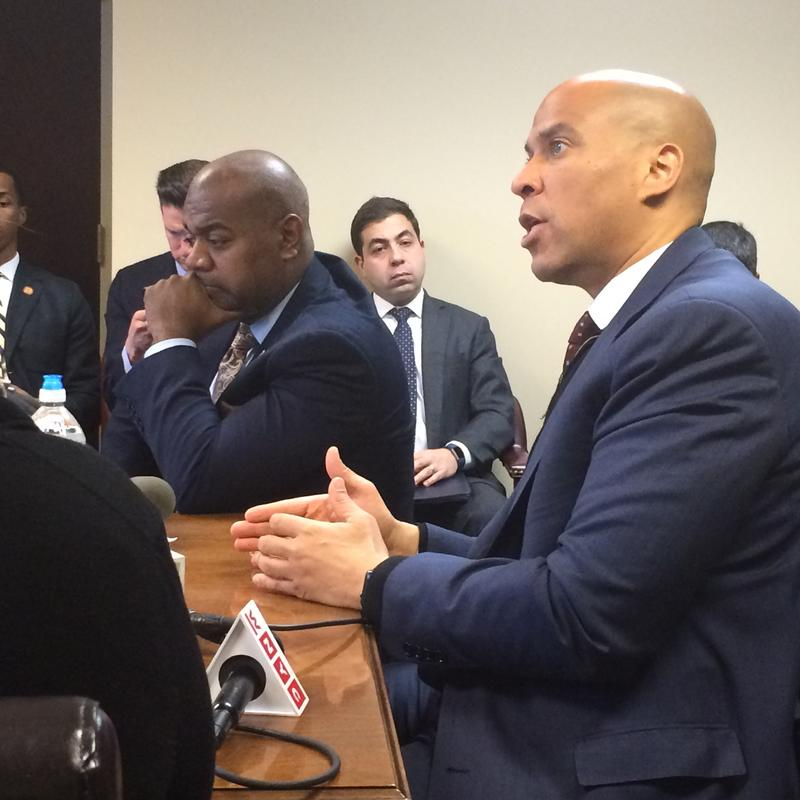 NJ Senator Cory Booker and Newark Mayor Ras Baraka discuss Trump with the New Jersey Black Mayors Alliance for Social Justice on Jan. 9, 2017.