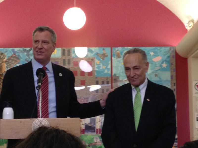 Mayor De Blasio and Sen. Schumer announce long-awaited funding for new public housing boilers damaged by Sandy.