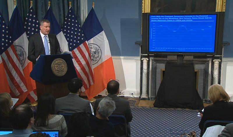 Mayor Bill de Blasio delivers his first proposed budget on February 12, 2014