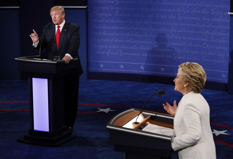 Republican presidential nominee Donald Trump debates with Democratic presidential nominee Hillary Clinton during the third presidential debate at UNLV in Las Vegas, Wednesday, Oct. 19, 2016.