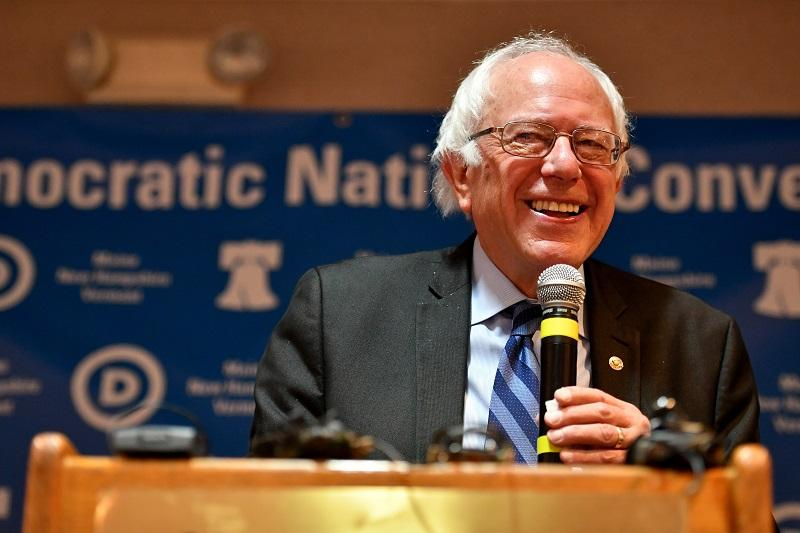 Senator Bernie Sanders exits the stage after addressing the New Hampshire, Maine and Vermont delegation breakfast at the Democratic National Convention (DNC) on July 27, 2016 in Essington, Penn.