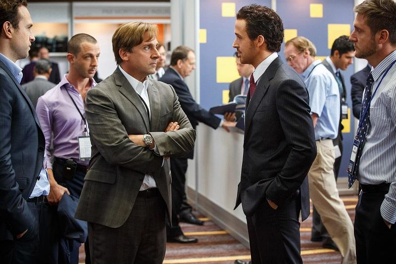 "Left to right: Steve Carell plays Mark Baum and Ryan Gosling plays Jared Vennett in ""The Big Short"" from Paramount Pictures and Regency Enterprises."