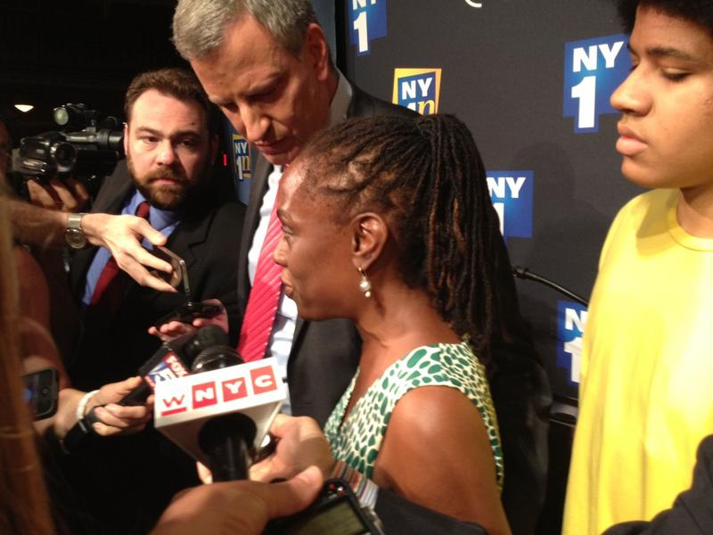 Mayoral Candidate Bill de Blasio, wife Chirlane McCray, and son Dante after August 21 Debate
