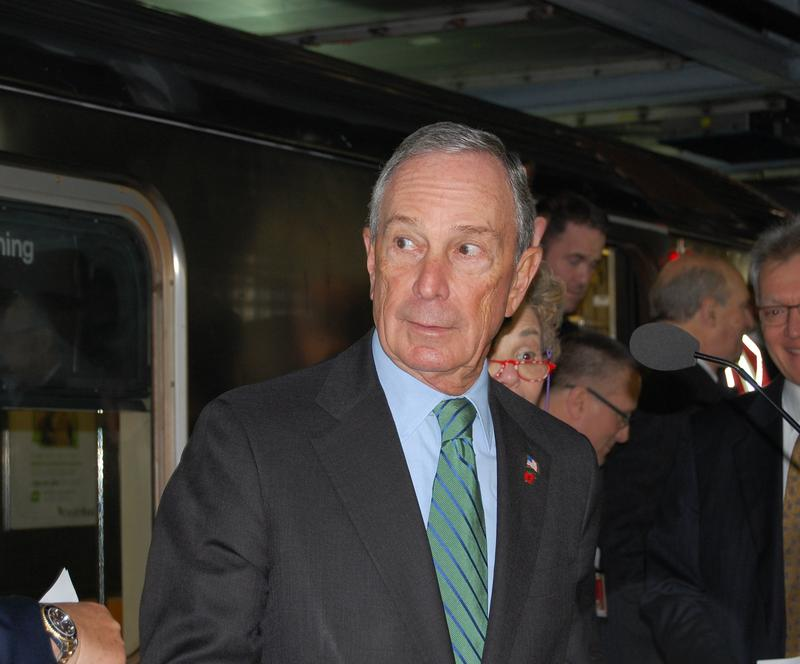 New York City Mayor Michael Bloomberg, exiting the #7 train at the new Hudson Yards station