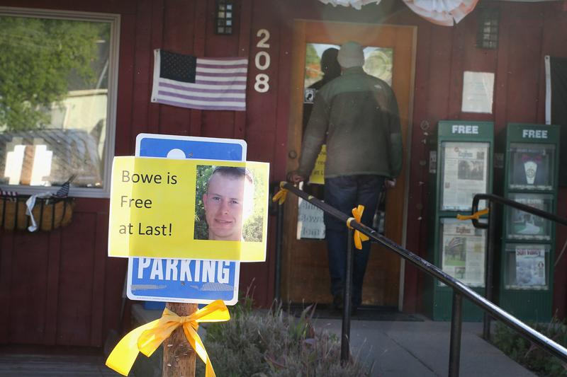 A sign announcing the release of Sgt. Bowe Bergdahl sits outside Zaney's coffee shop where Bergdahl worked as a teenager on June 2, 2014 in Hailey, Idaho.