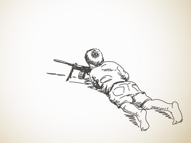 Sketch of boy playing war with machine gun.