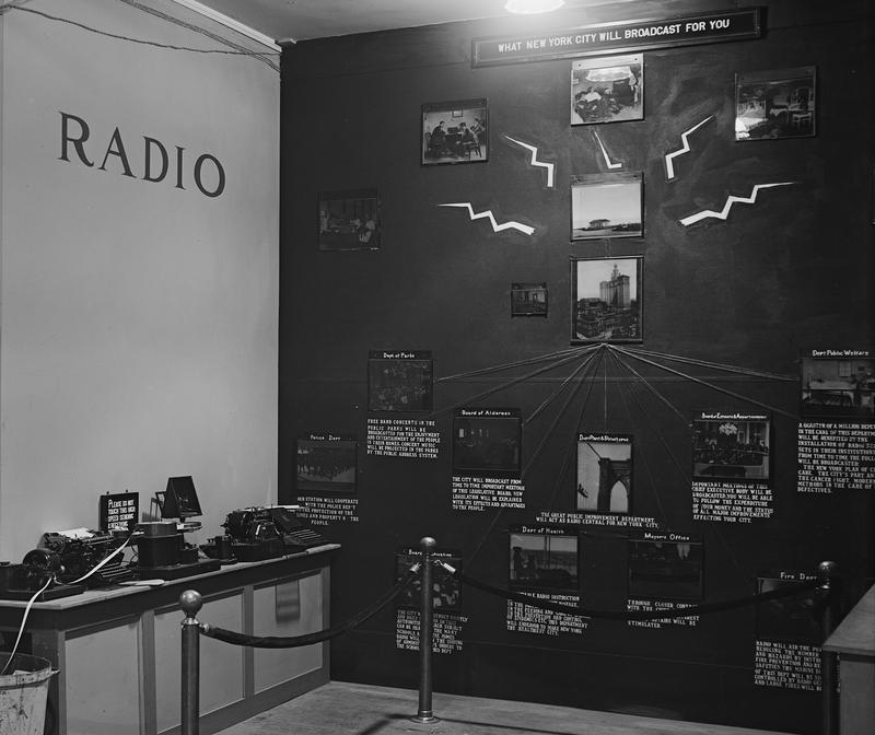 New York City Silver Jubilee exhibit wall with the city's plan for a municipal radio station, June, 1923 at the Grand Central Palace.