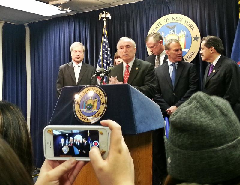 Police Commissioner Bill Bratton (at podium)