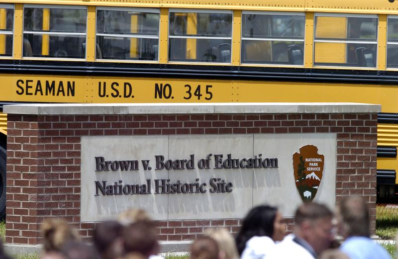 National Parks sign at what was once segregated Monroe Elementary School, which Linda Brown, the plaintiff in Brown v. Board of Education case, attended.