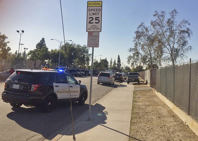A nearby school was shut down following reports of a shooting at a polling site in Asuza, California.