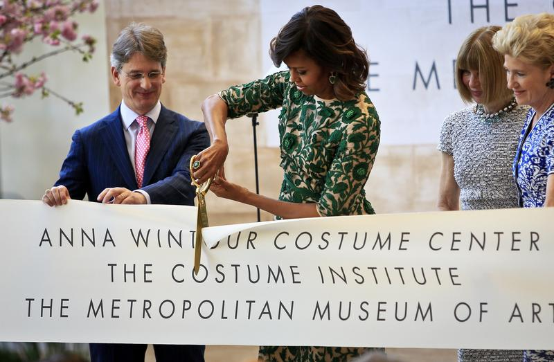 Met Museum director Thomas Campbell, pictured at a ribbon-cutting ceremony with Michelle Obama, announced on Tuesday that he's stepping down.