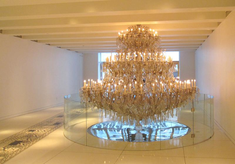 A chandelier in the lobby of 15 Broad Street.