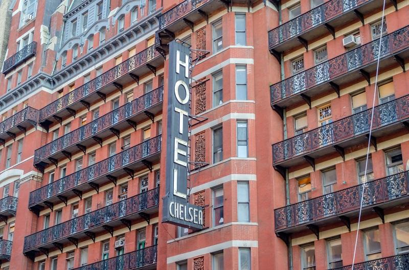 The Hotel Chelsea, New York, circa May 2013. The Hotel is a historic landmark in New York, known for the notability of its residents over the years