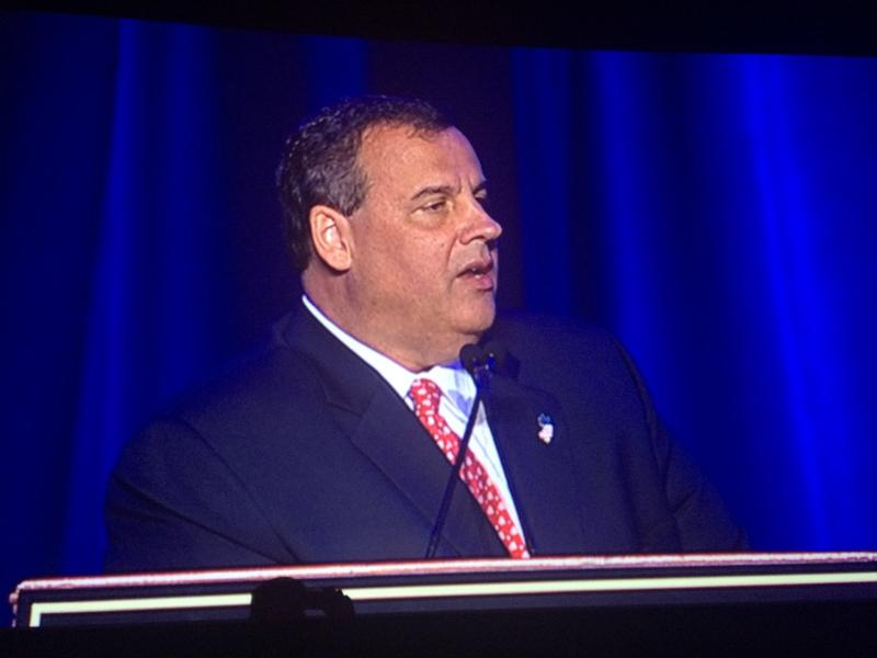 New Jersey Gov. Chris Christie speaks at the annual New Jersey Chamber of Commerce dinner in Washington, DC.
