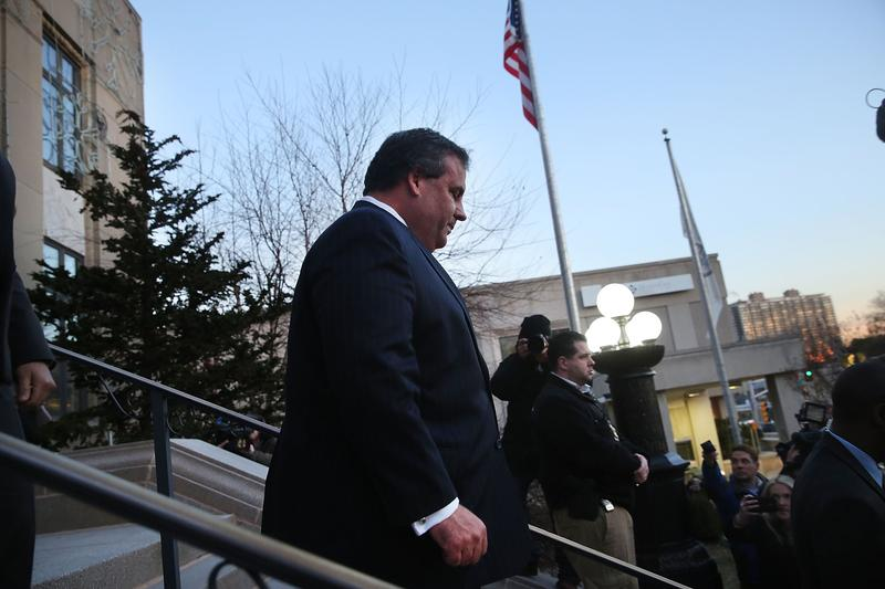 Gov. Christie leaving the municipal building in Fort Lee, NJ