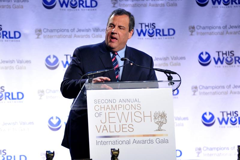 Chris Christie speaks on stage during World Jewish Values Network second annual gala dinner on May 18, 2014 in New York City.