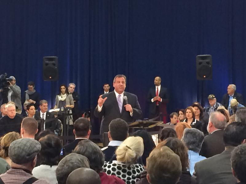 Gov. Chris Christie speaks at a town hall meeting in Mount Laurel, NJ, on Thursday, March 13.
