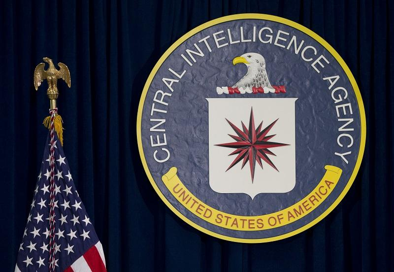 The CIA seal is seen displayed before President Barack Obama speaks at the CIA Headquarters in Langley, Va., Wednesday, April 13, 2016, after a meeting with his National Security Council.